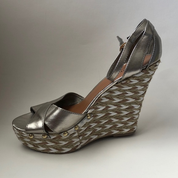 668b78371 JustFab Shoes | New In Box Pewter Wedges | Poshmark